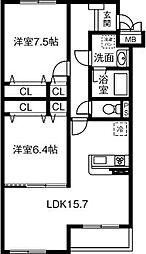 レーヴ稲沢[203号室]の間取り