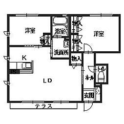サニーハウス平松[1階]の間取り
