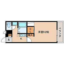 JR関西本線 大和小泉駅 徒歩4分の賃貸アパート 1階1Kの間取り