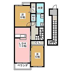 ヴェルヴェーヌI[2階]の間取り