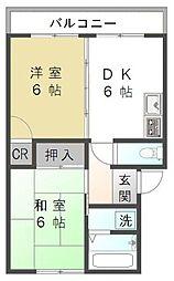 静岡県静岡市駿河区丸子新田の賃貸アパートの間取り