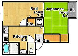 兵庫県神戸市兵庫区大同町3丁目の賃貸アパートの間取り