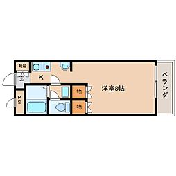 JR桜井線 長柄駅 徒歩15分の賃貸マンション 2階1Kの間取り