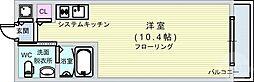 Osaka Metro四つ橋線 肥後橋駅 徒歩4分の賃貸マンション 10階ワンルームの間取り