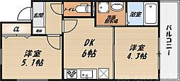 シャーメゾン朝日 1階2DKの間取り