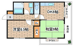 兵庫県神戸市須磨区権現町3丁目の賃貸マンションの間取り