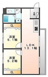 甲子園十番館[2階]の間取り
