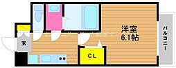 JR山陽本線 岡山駅 徒歩6分の賃貸マンション 10階1Kの間取り