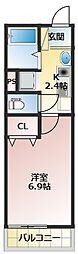 Villa Egret(ヴィライグレット) 3階1Kの間取り