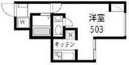 JR山手線 西日暮里駅 徒歩7分の賃貸マンション 5階ワンルームの間取り