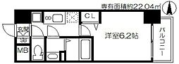 プレサンス天神橋筋六丁目ヴォワール 2階1Kの間取り