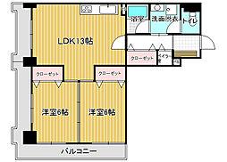 三好マンション万代[8階]の間取り