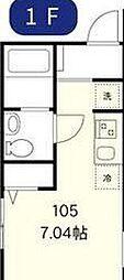 東京メトロ丸ノ内線 新中野駅 徒歩7分の賃貸アパート 1階ワンルームの間取り