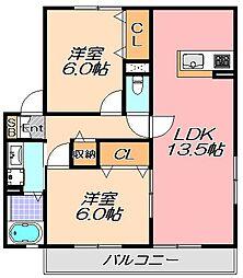 兵庫県神戸市北区道場町日下部の賃貸アパートの間取り