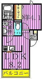 ピース八潮II 3階1DKの間取り