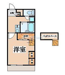 近鉄奈良線 瓢箪山駅 徒歩32分の賃貸アパート 2階1Kの間取り