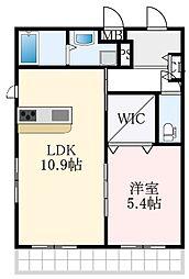 南海高野線 大阪狭山市駅 徒歩1分の賃貸マンション 3階1LDKの間取り