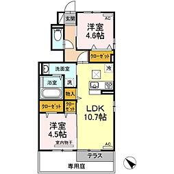 JR鹿児島本線 川内駅 徒歩27分の賃貸アパート 1階2LDKの間取り