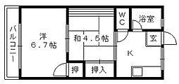 シティハイムポプラ[2階]の間取り