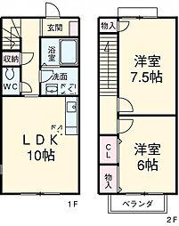 愛知県安城市住吉町7丁目の賃貸アパートの間取り