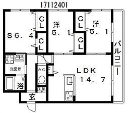 サンピース阿倍野[3階]の間取り