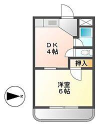 七福コーポ[3階]の間取り