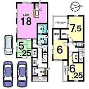 全室南向き、2面バルコニーがある明るいおうちです。駐車3台可能前面道路幅員約6mありますので大型車でも安心です。