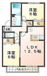 滋賀県大津市今堅田2丁目の賃貸アパートの間取り