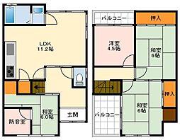 近鉄南大阪線 河内松原駅 徒歩34分の賃貸一戸建て 1階4LDKの間取り
