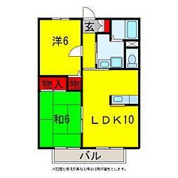 ツインパレスD棟[2階]の間取り