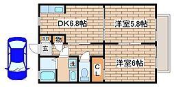 兵庫県神戸市須磨区多井畑南町の賃貸アパートの間取り