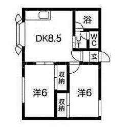 メゾンドヒル33[1階]の間取り