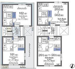 ラフォート菊川 1階ワンルームの間取り