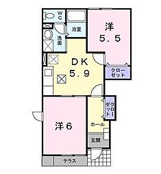 ラフィネ・メゾンII[1階]の間取り