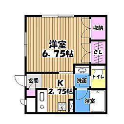 東京都日野市南平4丁目の賃貸アパートの間取り