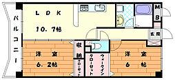 ボ−フェン ドゥリ−[4階]の間取り