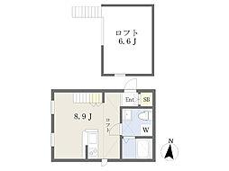 JR埼京線 武蔵浦和駅 徒歩7分の賃貸アパート 1階ワンルームの間取り