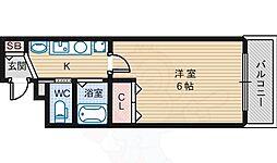 Osaka Metro御堂筋線 あびこ駅 徒歩7分の賃貸マンション 4階1Kの間取り