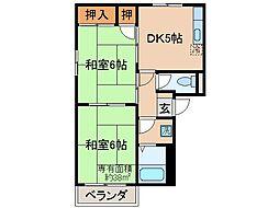 京都府京都市伏見区桃山町日向の賃貸アパートの間取り