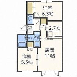 [テラスハウス] 北海道石狩市樽川三条3丁目 の賃貸【/】の間取り