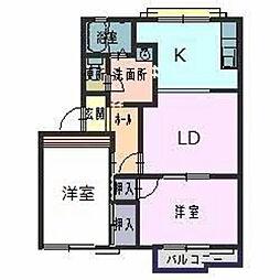 コーポラス立岡[2階]の間取り