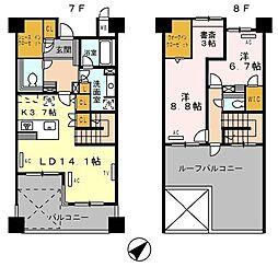 ロイヤルパークス豊洲 7階2LDKの間取り