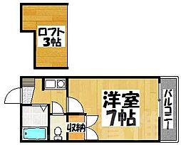 福岡県福岡市東区若宮1丁目の賃貸アパートの間取り