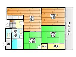 ドムール祐村[4階]の間取り