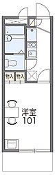 JR片町線(学研都市線) 忍ヶ丘駅 徒歩9分の賃貸マンション 2階1Kの間取り