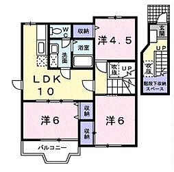 千葉県茂原市東部台2丁目の賃貸アパートの間取り