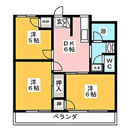 サンライズ泉 3階3DKの間取り