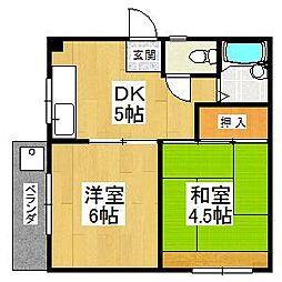 大阪府堺市美原区菩提の賃貸アパートの間取り