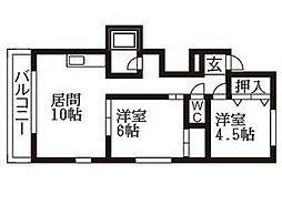 北海道札幌市清田区平岡一条2丁目の賃貸アパートの間取り