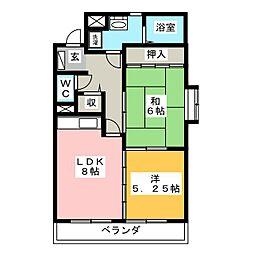 マンションベルエア[2階]の間取り